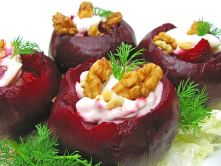 stuffed beetroot healthy vegetable snack photo