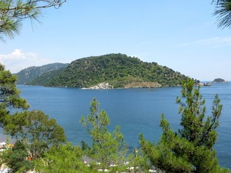woody bay: green island in aegean sea panoramic view turkey marmaris resort