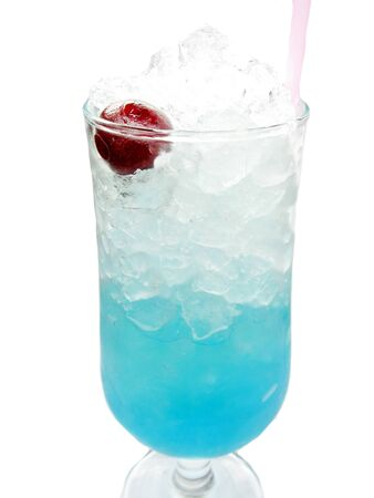 alcoholic blue curacao liqueur cocktail with ice and cherry photo