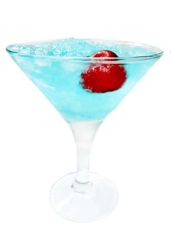 alcoholic liqueur cocktail with ice and cherry blue lagoon photo