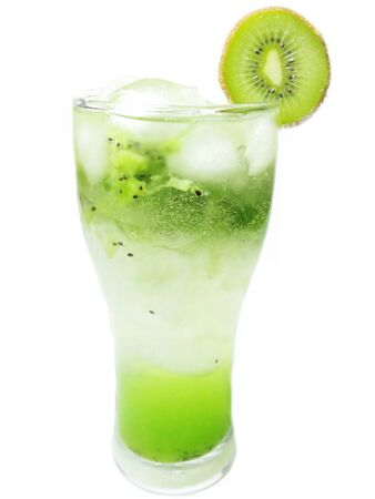 alcoholic green cocktail with ice and kiwi sage romance photo