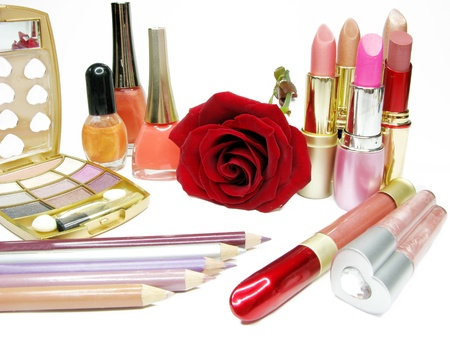 lipsticks rose eye shadows pencils nail polishers lip gloss photo