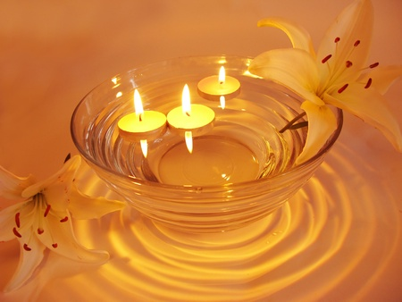 spa lit candles lilies flowers health-care treatment