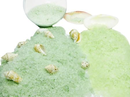 spa bathing salt among sea shells  photo