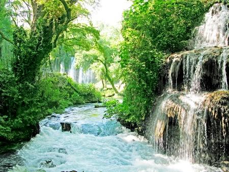 waterfall cascade duden turkey national park photo