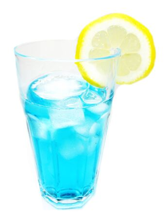 alcohol blue curacao liqueur cocktail with lemon photo