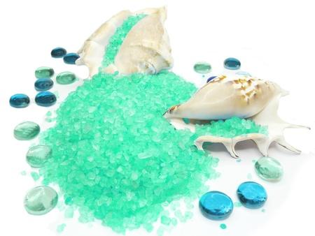 spa bathing salt in sea shells  Stock Photo