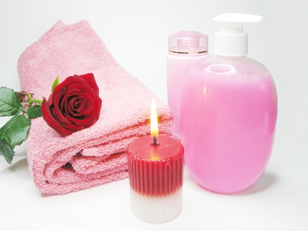 spa face tonic creme liquid soap candles towel  photo