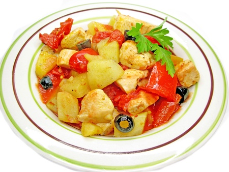 cooked chicken meat with potato tomato and pepper  photo