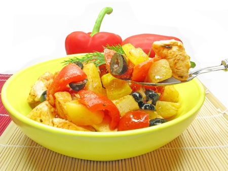 cooked meat with pepper and spoon photo