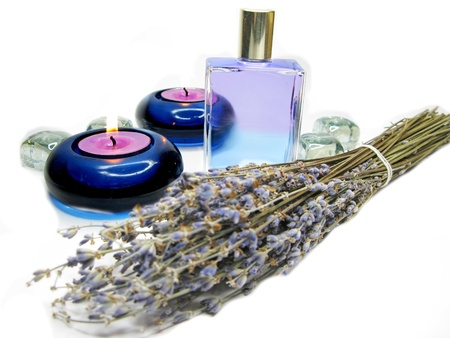 spa lavender oil essensce with flowers for aromathepary photo