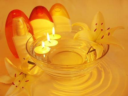 spa hair mask creme shower gel candles essenses and white lily Stock Photo - 11494976