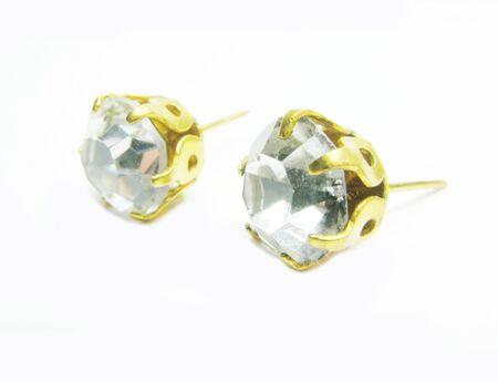 diamond earrings isolated on white backgroud Stock Photo