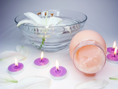 spa hair mask creme candles and white lily photo