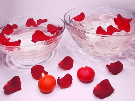 spa lit candles rose petals flowers health-care treatment photo