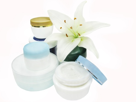 cosmetic cremes for face health-care Stock Photo