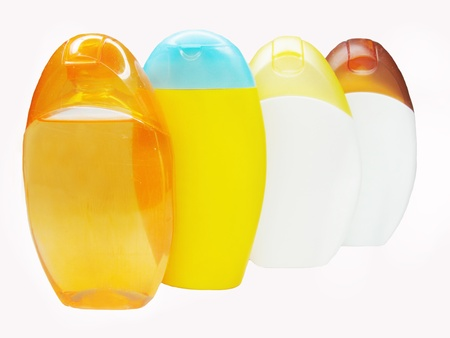 gels: bottles of shampoo and shower gels