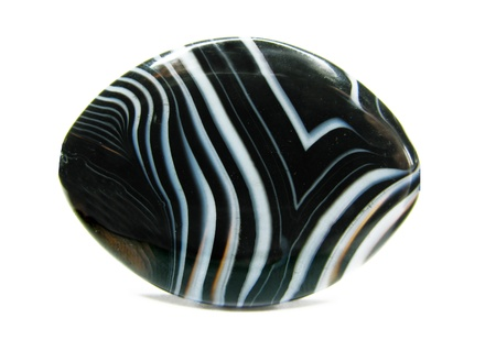 black and white agate with lines bead isolated on white background
