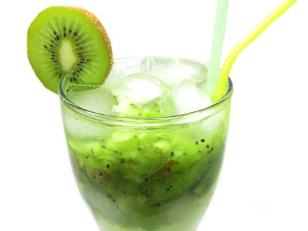 fruit cold cocktail drink with ice and kiwi photo
