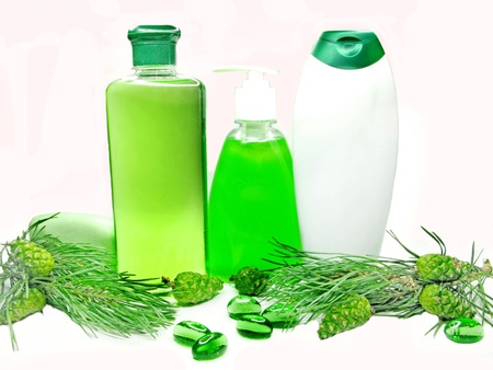 green shower gel bottle with fir natural coniferous extract photo