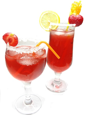 alcoholic fruit red cocktail drinks with ice and strawberry Stock Photo