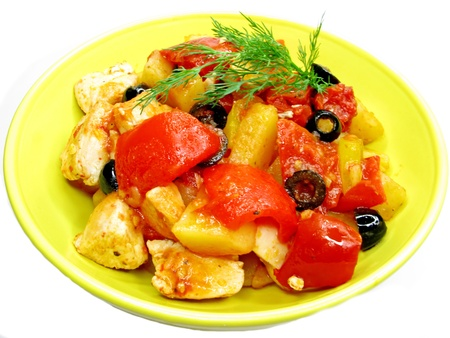 cooked meat with vegetable in bright plate photo
