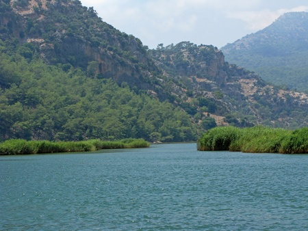 dalyan river in mountains in turkey asia photo