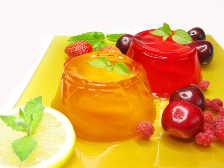 gelatin jelly desserts with strawberry raspberry and cherry photo