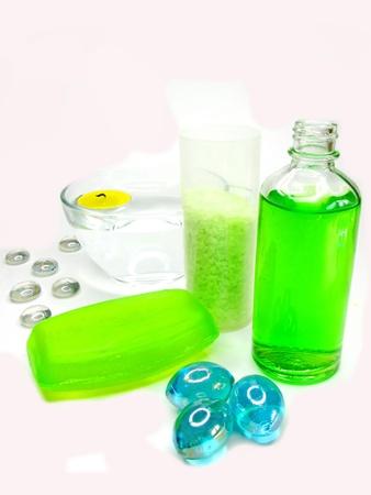 spa hair mask creme liquid soap candles towel essences photo