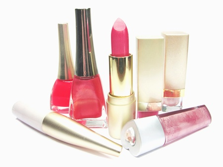 pink lipstick nail polishers and lip glosses bright cosmetic set Stock Photo - 11850527