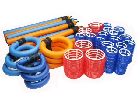 diameter: collection of red blue and orange hair rollers different diameter