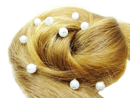 gingery: gingery hair wedding coiffure isolated on white background Stock Photo