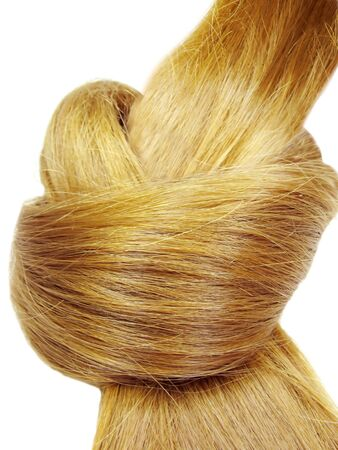 gingery: gingery hair coiffure heart shape isolated on white background Stock Photo