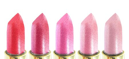 set of pink lipsticks in assortment photo