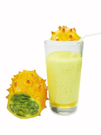 cocktail with kiwano horned melon and kiwi photo
