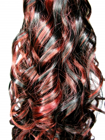 ringlet: curly black and red highlight hair texture abstract background