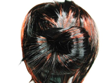 gingery: brunette highlight hair texture tuft style coiffure