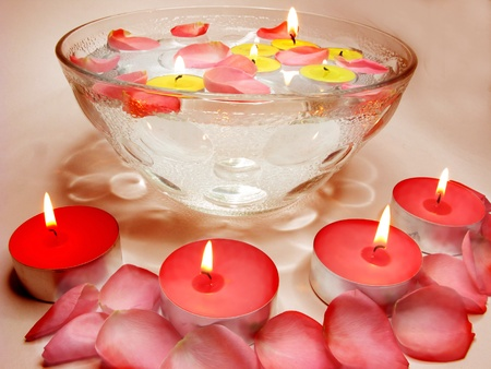 spa lit candles rose petals flowers health care treatment photo