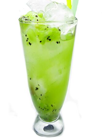two glasses of kiwi juice drinks with ice and mint photo