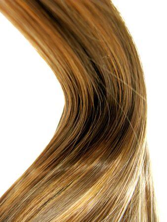 gingery: shiny dark gingery hair wave isolated on white background Stock Photo