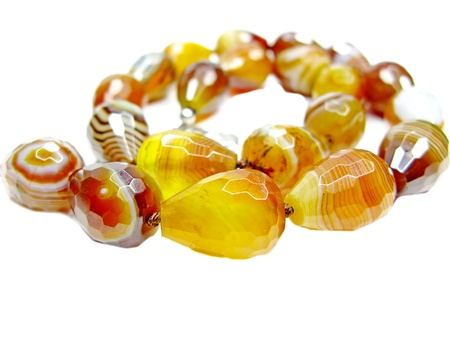 agate semigem beads isolated on white background