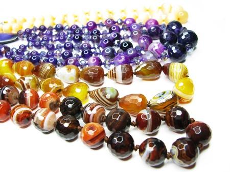 group of semigem beads isolated on white background