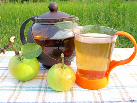 apple fruit tea and teapot tea-drinking outdoors photo