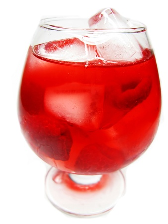 alcohol red wine cocktail with ice and raspberry Stock Photo