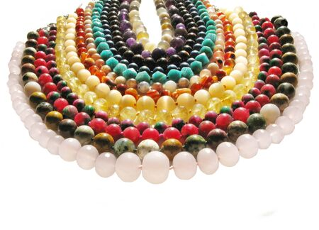 green tourmaline: colored beads made of different kinds of natural jewels