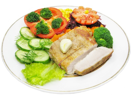 cooked meat with cucumber pepper and green cauliflower photo