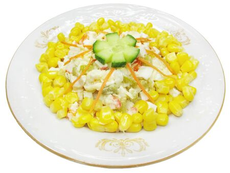 vegetable salad with mayonnaise and corn photo