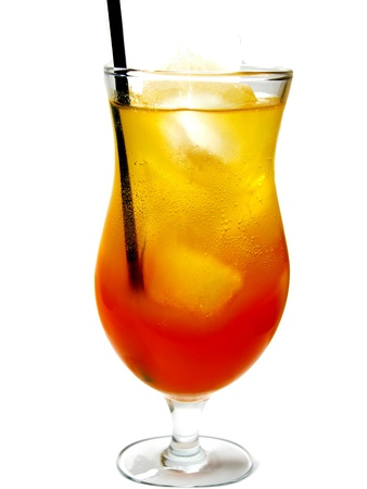 alcohol cocktail tequila sunrise drink with ice  photo