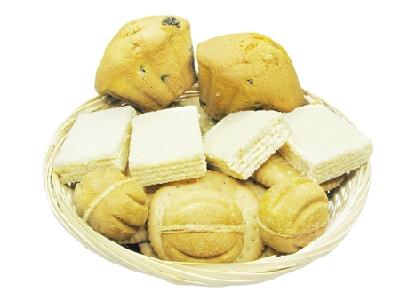 biscuts: sweet cakes biscuts and wafers in the plate Stock Photo