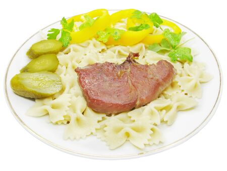 cooked meat: cooked meat with spaghetti and vegetables